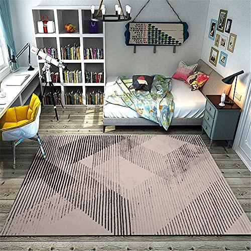 Alfombras Alfombra Salon Lavable Deslice diseño geométrico a Rayas Gris Negro con Alfombra para Resistente a la decoloración Decoracion Cocina Alfombra habitacion Juvenil 180X250CM