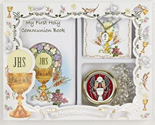 My First Holy Communion Girls Gift Set with Prayer Book, PYX with Rosary, and Chalice Pendant