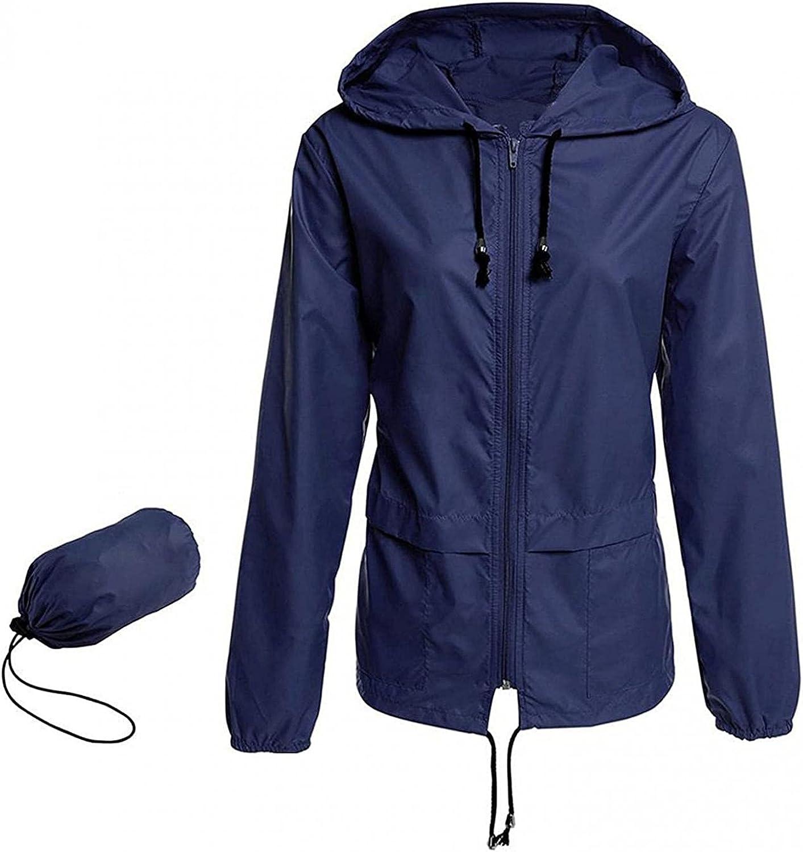 Women's Waterproof Raincoat Lightweight Rain Jacket Packable Active Outdoor Hooded Windbreaker Trench Coats
