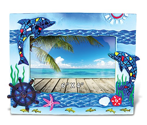 Puzzled Resin Blue Dolphin Mosaic Picture Frame, 6 X 4 Inch Sculptural Photo Holder Intricate & Meticulous Detailing Art Handcrafted Tabletop Accent Accessory Tropical Beach Themed Home Décor