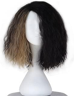Men Synthetic Short Curly Hair Half Black Half Brown Wrestler Wig Cosplay Costume Wigs