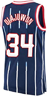 Olajuwon Jersey Men's 34 Jersey Hakeem Basketball Jerseys Blue (XXL)