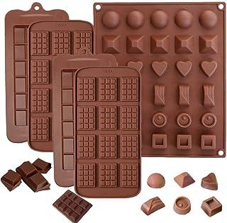5pcs moldes de silicona para chocolate,Moldes de Bombones de Silicona, antiadherentes, antiroturas, proteínas y barra de energía, bandeja para cubitos de hielo, molde para dulces, molde de cocina