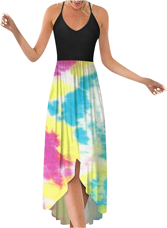 Dresses for Womens,Women's Printed V Neck Long Maxi Dress Sleeveless Summer Party Cami Long Dress