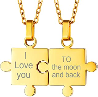 gold puzzle piece necklace for couples