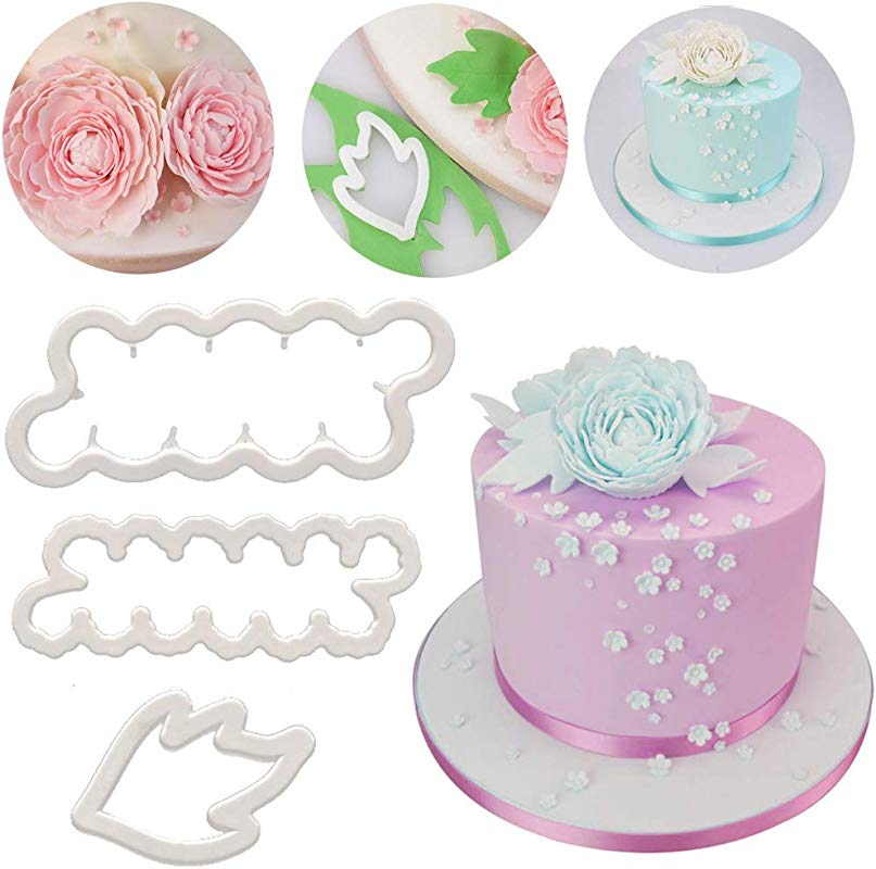 SAKOLLA Peony Flowers Cookie Cutter Gumpaste Peonies Fondant Cutter For Cake Decorating Cupcake Toppers