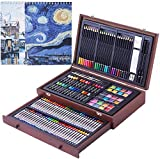145 Piece Deluxe Art Set with 2 x 50 Page Drawing Pad, Art Supplies in Portable Wooden Case, Crayons, Oil Pastels, Colored Pencils, Watercolor Cakes, Sharpener, Sandpaper, Deluxe Art Set