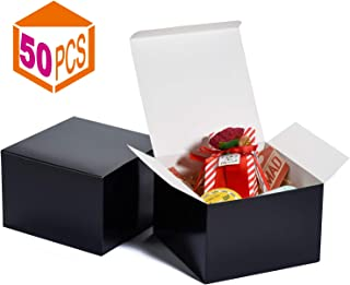 MESHA Gift Boxes 6x6x4in Gift Boxes for Bridesmaids Paper Boxes with Lids for Crafting, Cupcake Boxes (Black-50Pcs)