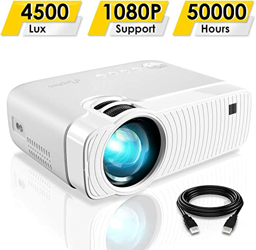 """Mini Projector, ELEPHAS 4500 Lumens Portable Projector Max 180"""" Display 50000 Hours Lamp Life LED Video Projector Sup..."""