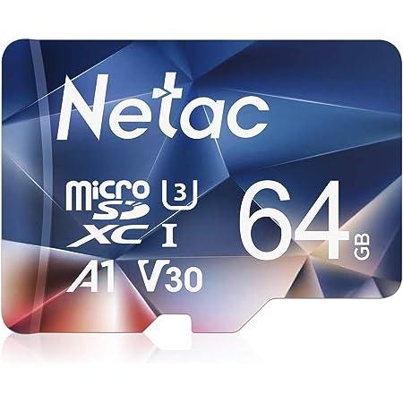 Netac 64 GB Scheda Micro SD, Scheda di Memoria A1, U3, C10, V30, 4K, 667X, UHS-I velocità Fino a 100/30 MB/Sec(R/W) Micro SD Card per Telefono, Videocamera, Switch, Gopro, Tablet