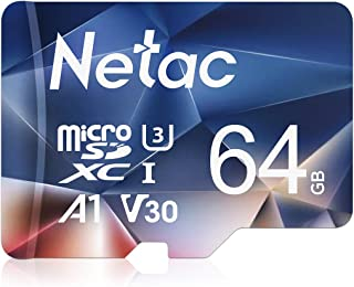 Netac Tarjeta de Memoria de 64GB Tarjeta Memoria microSDXC(A1 U3 C10 V30 4K 667X) UHS-I Velocidad de Lectura hasta 100 MB/s Tarjeta TF para Móvil Cámara Deportiva Switch Gopro Tableta
