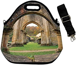 Antique Decor Custom Neoprene Lunch Bag,Autumn View on the Ancient Ruins of Famous Medieval Century in Belgium for Lunch Trip Travel Work,With Shoulder Straps(12.6''L x 6.3''W x 12.6''H)