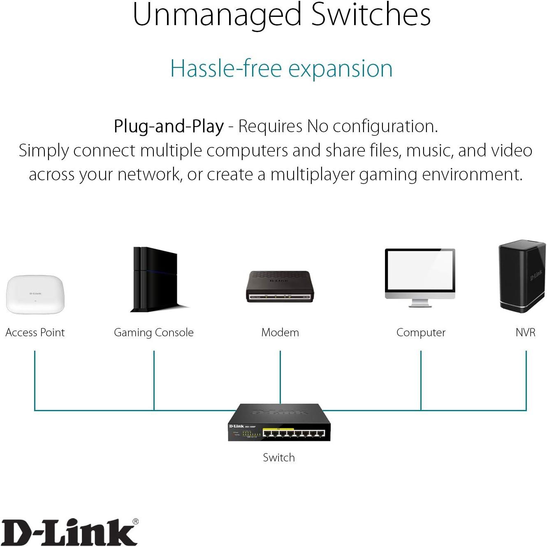 D-Link 16-Port Gigabit Ethernet Unmanaged Desktop Switch Fanless QoS SOHO Metal Energy-Efficient Ethernet DGS-1016S Quiet Operation