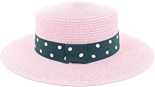 Sunscreen Green Cloth with White Wave Point Sunhat Summer Straw Sun Hat Outdoor Women Travel Seaside Holiday Beach Hat (Color : Pink, Size : 56-58CM)
