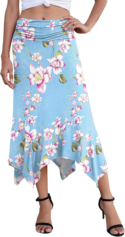 Ranle Women's Summer Dress High Waist Print Skirt Casual Elegant Elegant Handkerchief Hem Mid-Length Skirt