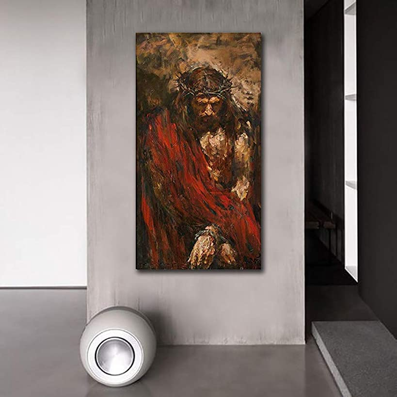 Abstract Canvas Prints Jesus Christ Wall Art Photos of Oil Painting Retro Vintage Christian Religion Wooden Modern Home Decor Poster for Living Room (20
