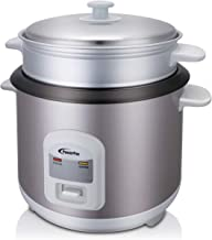 POWERPAC PPRC68 1.8L Rice Cooker with Steamer, 1.8L, Grey