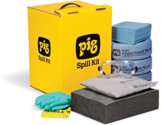 New Pig Spill Kit in GoBox Cabinet, 6-Gal Absorbency, Absorbs Oils, Coolants, Solvents & Water, Disposable Box Kit, Hi-Viz Yellow, KIT290