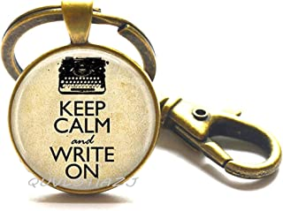 Typewriter Keychain Keep Calm and Write On Writer's Art Key Ring,Fashion typewriter, gifts for writers, book lover,ot118 (A2)