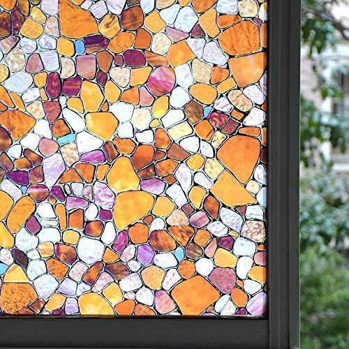 LMKJ Película de Vidrio Decorativa con Efecto de Guijarro de Colores, Pegatina de Ventana de privacidad electrostática, Pegatina de Vidrio de Vinilo A26 60x100cm