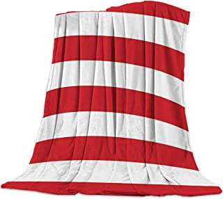 FortuneHouse8 Flannel Fleece Blanket Bold Stripe Pattern Red White Super Soft Warm Cozy Bed Couch Car Throw Blanket for Children Adult Travel All Reason 50x60inch