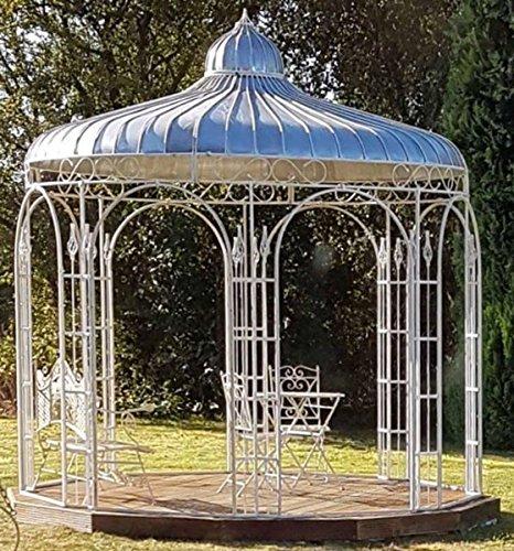 Casa Padrino Gartenpavillon Ø 325 x H. 350 cm Pavillon aus Schmiedeeisen mit verzinktem Blechdach, Farbe:weiß