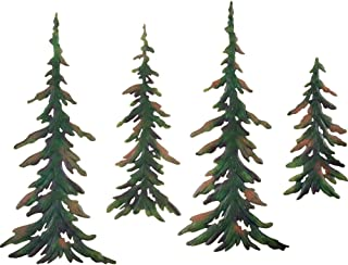 Vminno Collections Etc Evergreen Pine Tree Metal Wall Decor Set of 4