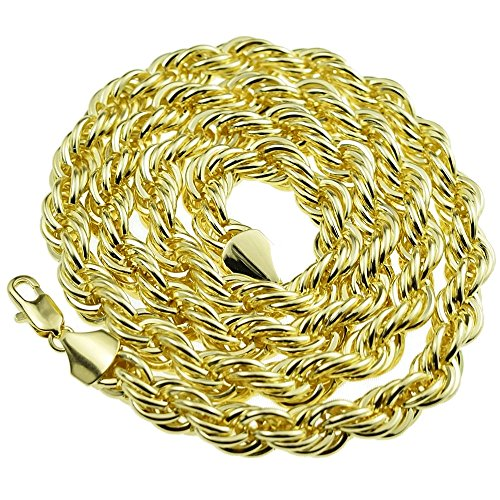 Bling Cartel Rope Hip Hop Chain 10 mm 30 Inch Twisted Heavy Dookie Mens Gold Finish Braided Necklace
