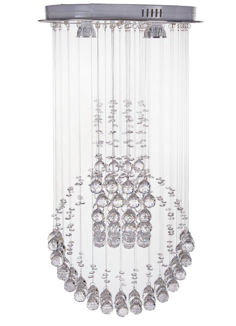 Diamond Life 现代雨滴 LED 吊灯带水晶球天花板照明灯具 宽 16 x长 16 x高 30,含灯泡