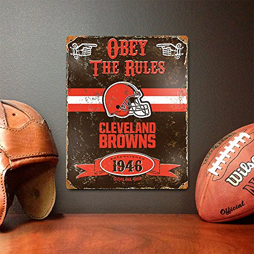 Party Animal NFL Embossed Metal Vintage Cleveland Browns Sign