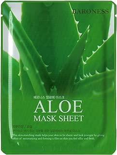 Baroness Korean Masksheet Full Face Aloe Facial Mask Sheet, 10 Pack