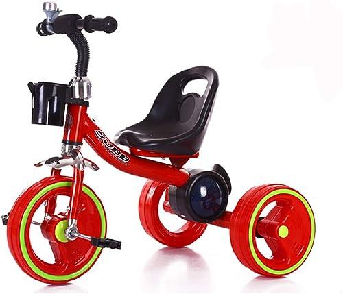 Kinder Dreirad Baby Fahrrad Kind Reiten Dreirad Baby Musik Buntes Licht Dreirad Fahrrad 1 Jahr und eine halbe bis 6 Jahre alt Kind Fahrrad rot (Farbe   rot)