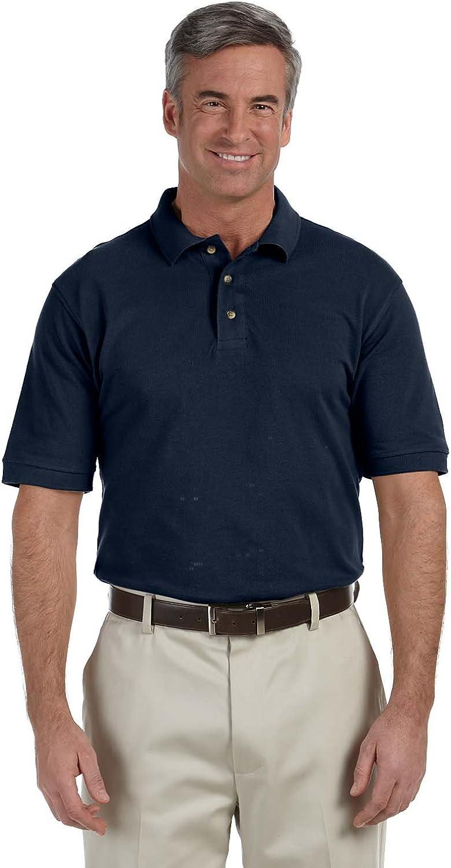 Harriton Tall Horn Style Buttons Pique Polo Shirt, Navy, XXX-Large Tall