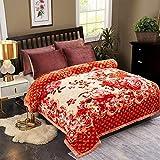 JML Plush Raschel Blanket, Korean Mink Blankets - Silky Soft, 2 Ply Printed Fleece Blanket (Orange Floral, Queen)