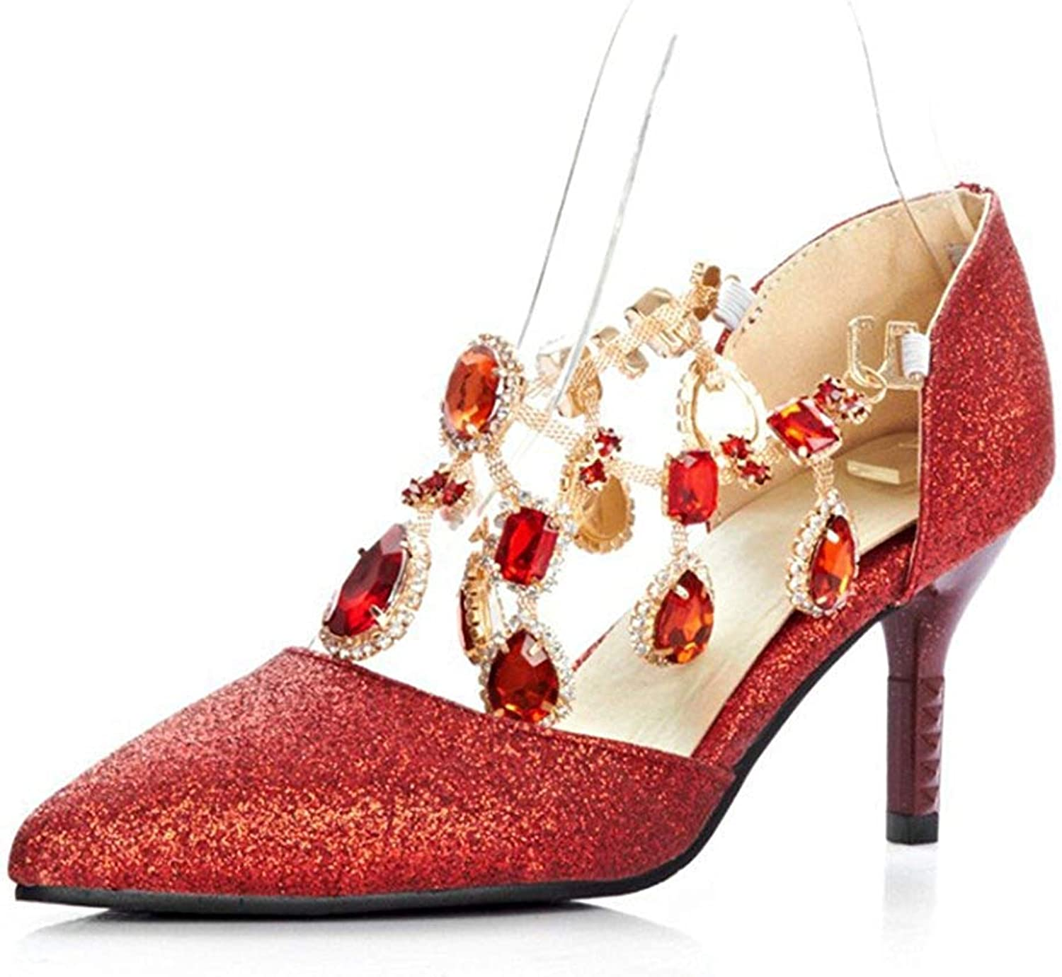 Unm Women's Sexy Sequins Rhinestones Pointed Toe Ankle Wrap Buckle Dress Kitten Heeled Pumps Party Bridal Stiletto shoes