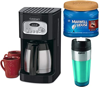 Cuisinart DCC-1150 10-Cup Thermal Programmable Coffeemaker (Black) with Tumbler and Medium Roast Ground Coffee Bundle (3 Items)