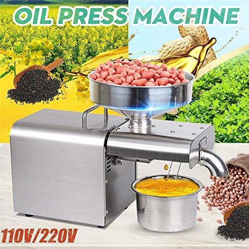 LQQ 2020 110 / 220V Ölpresse Edelstahl Ölpresse-Maschine Automatische Ölgewinnung Peanut Coconut Olive Extractor Expeller (Voltage : 220V)