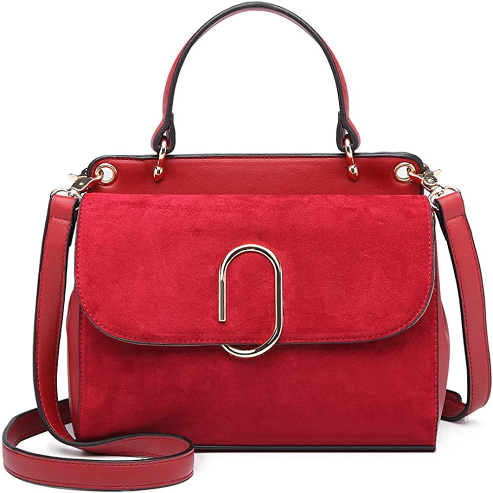 Miss lulu, borsa a mano/tracolla da donna, in similpelle e pelle scamosciata LB6871