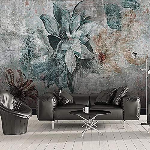 XHXI Vintage stile europeo elegante verde marrone floreale pianta stampa artistica foto carta da par Carta da parati fotomurali poster murale Soggiorno camera letto minimalista tv sfondo-400cm×280cm