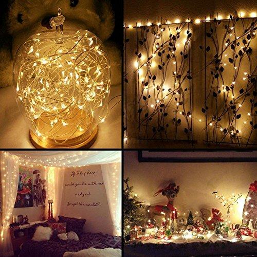 Samoleus 100er LED Solar Kupferdraht Lichterkette Warmweiß 12 Meter, Wasserdichte Solar Außen Sternen Lichterketten Beleuchtung für Garten, Wohnungen, Tanzen, Weihnachtsfeier, Schlafzimmer, Fenster
