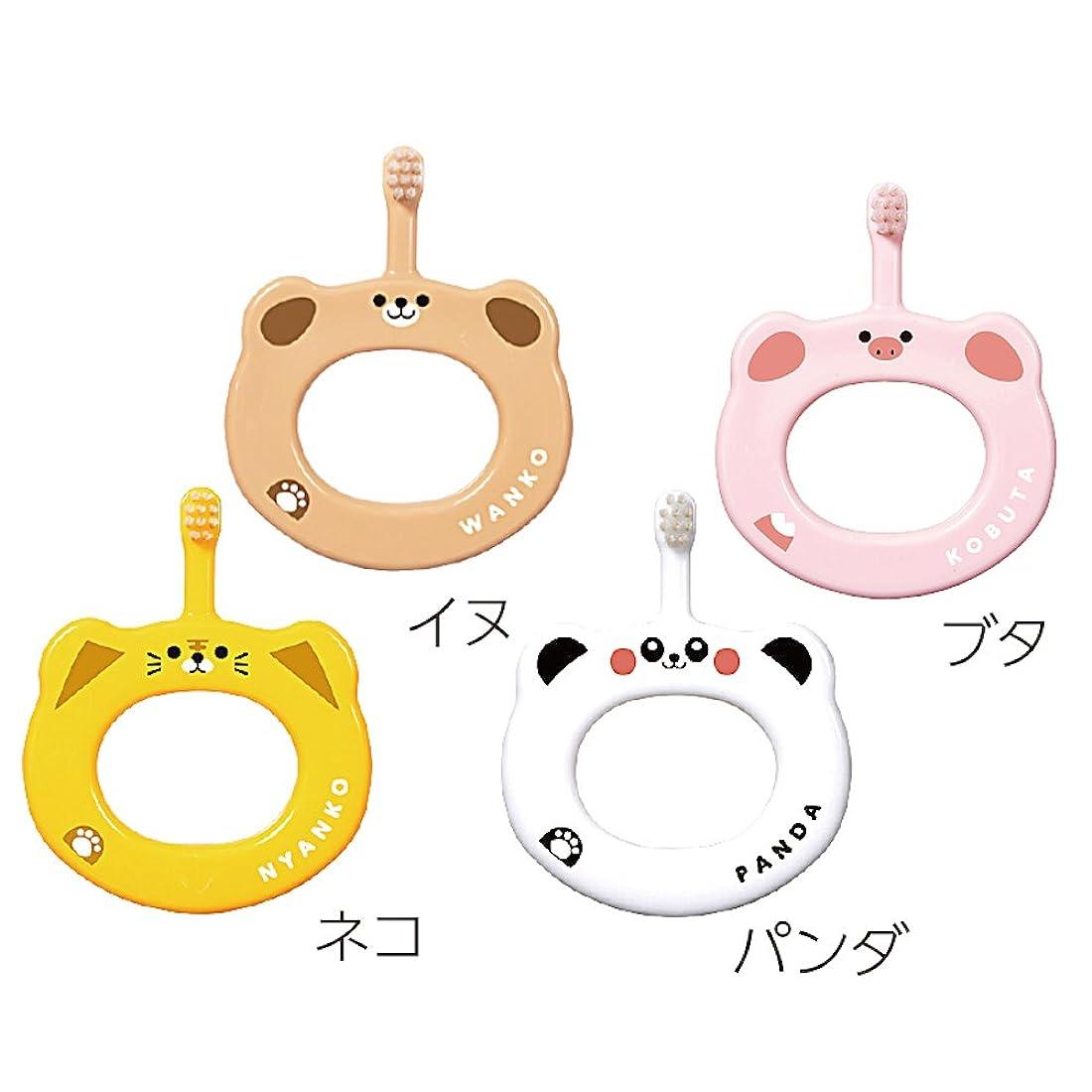 テープゴネリル霧Ci ベビー 歯ブラシ 動物柄 リング 4本セット (ブタ、パンダ、ネコ、イヌ)