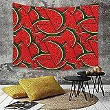 Yhjdcc Tapiz para colgar en la pared, frutas refrescantes sandía rebanadas temporada tropical orgánico delicioso Artsy diseño decorativo rojo cazador gre decoración del hogar 150 cm x 200 cm