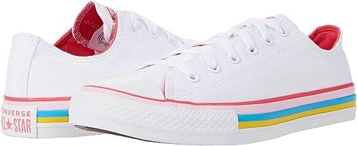 White/Carmine Pink