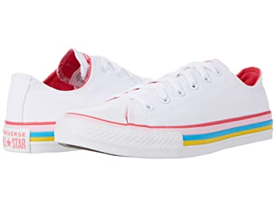 Converse Kids Chuck Taylor(r) All Star(r) Striped Ox (Little Kid/Big Kid) (White/Carmine Pink) Girl