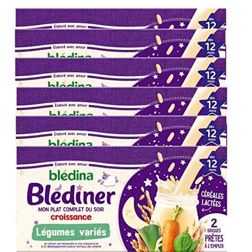 Blédina Blédîner, Céréales bébé Lactées, Légumes, Dès 12 Mois, 250 ml (Lot de 6x2 briques)