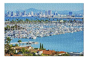 San Diego California Skyline and Harbor View Photography A-92856 92856  Premium 500 Piece Jigsaw Puzzle for Adults 13x19 Made in USA!