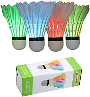 ZHENAN 6 Pack LED Badminton Shuttlecocks Lighting Birdies Shuttlecock Glow in The Dark..