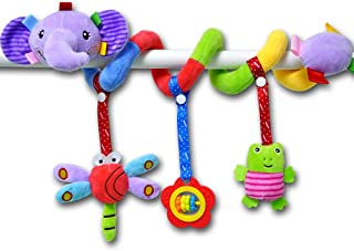 RichChoice Animal Baby Hanging Rattle Toys Set:Dog Monkey Elephant Lion Toys for Stroller,Car Seat,Crib Bed,Travel; 1-3-6-12 Month,1-2 Years Old Toys with Crinkle Ears Bell Rattle