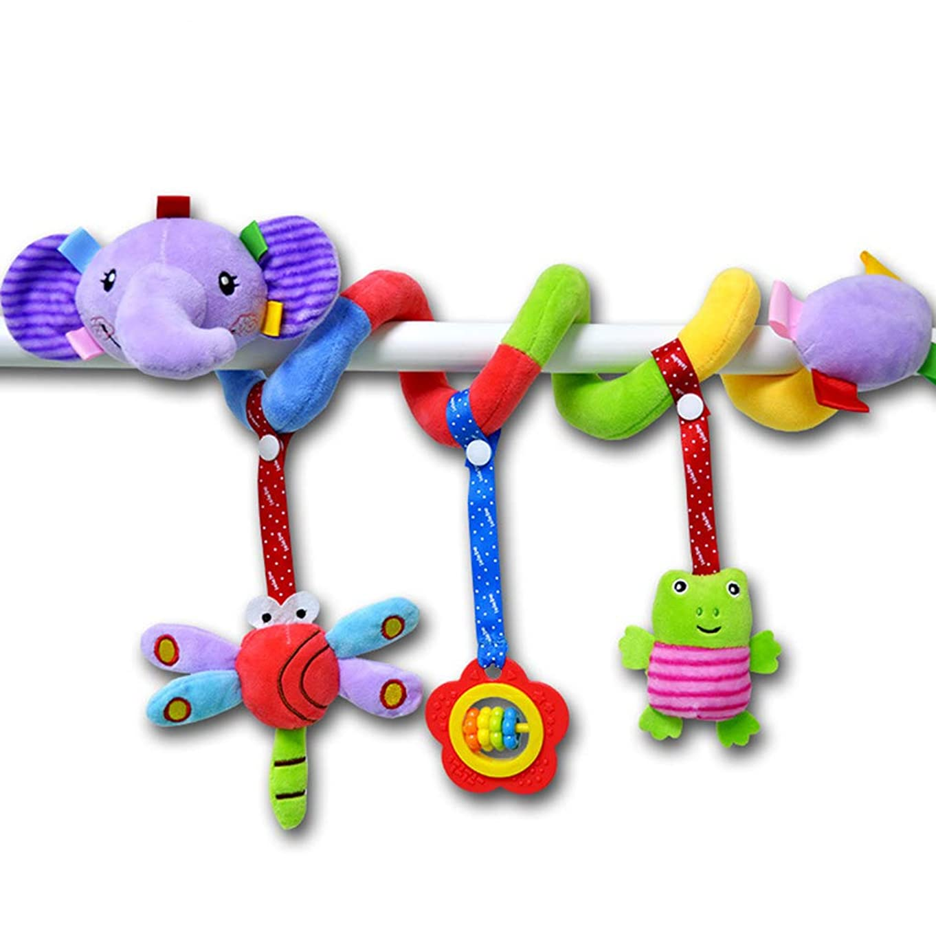 Elephant Cartoon Stroller Arch Rattles Hanging Cute Plush Animals Style Bed Around for Baby Education Toy Spiral Wrap Around Crib Bed