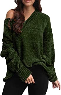 Ladies Knit Pullover Solid Color Blouse Cold Shoulder Sweater Womens V-Neck Sweatshirt Long Sleeve Tops